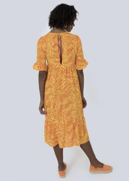 Maxikleid mit Palmen-Print, gelb/orange