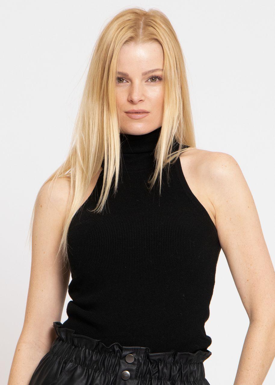 Rollkragen-Shirt, schwarz