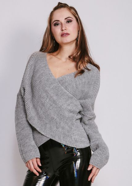 Pullover in Wickel-Optik, grau
