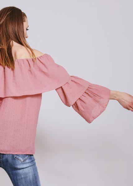 Schulterfreie Hängerchenbluse mit Volants, dunkelrosa