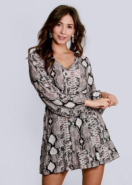 Kleid in Snake-Print, beige