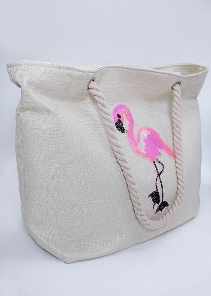 XL-Strandtasche mit Flamingo, beige