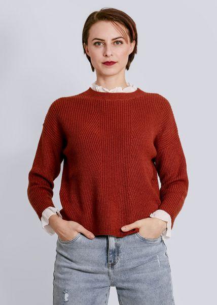 Pullover mit weißen Rüschen, cognac
