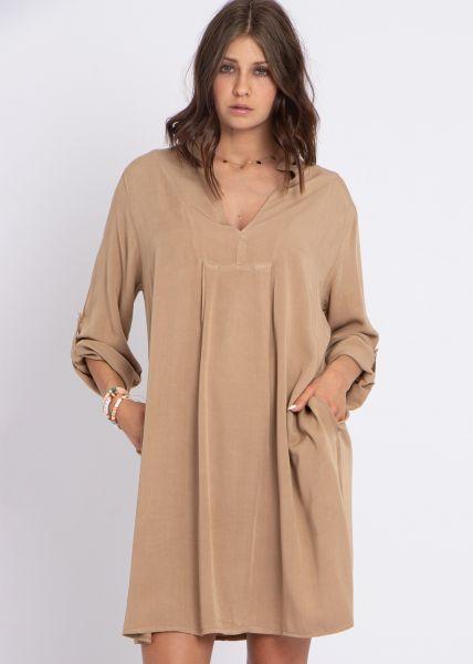 Lässiges Tunikakleid mit Taschen, camel