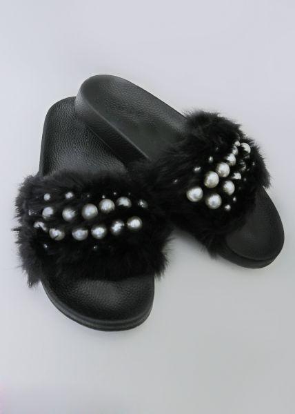 Sliders mit Perlen, schwarz