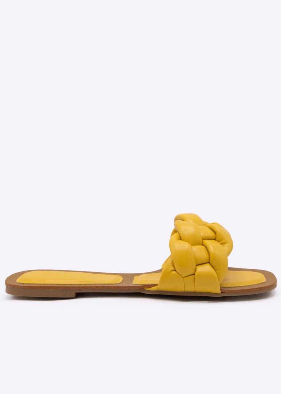 Flats mit geflochtenem Steg, gelb