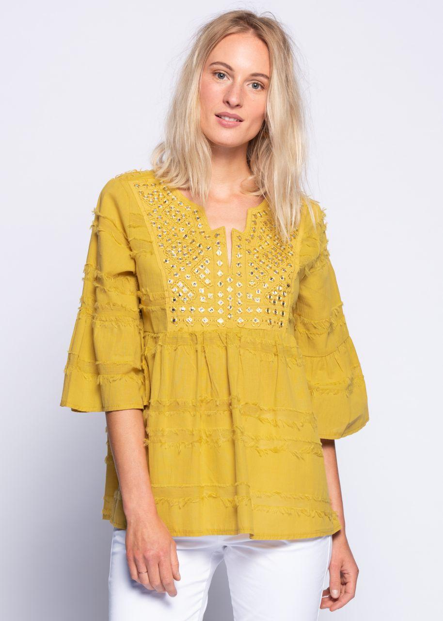 Tunika-Bluse mit bestickter Passe, gelb