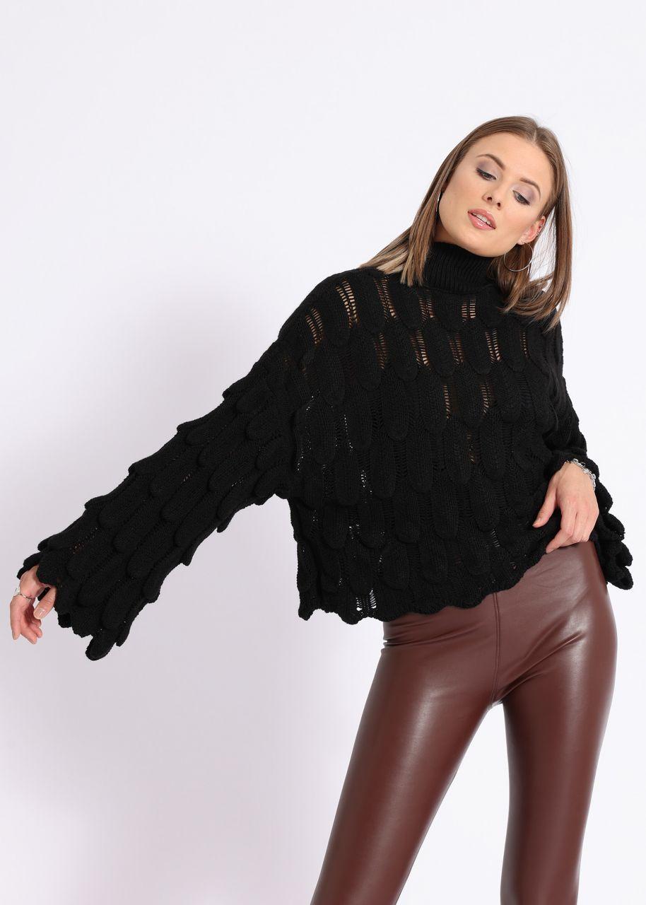 Oversize Pullover mit Muster, schwarz