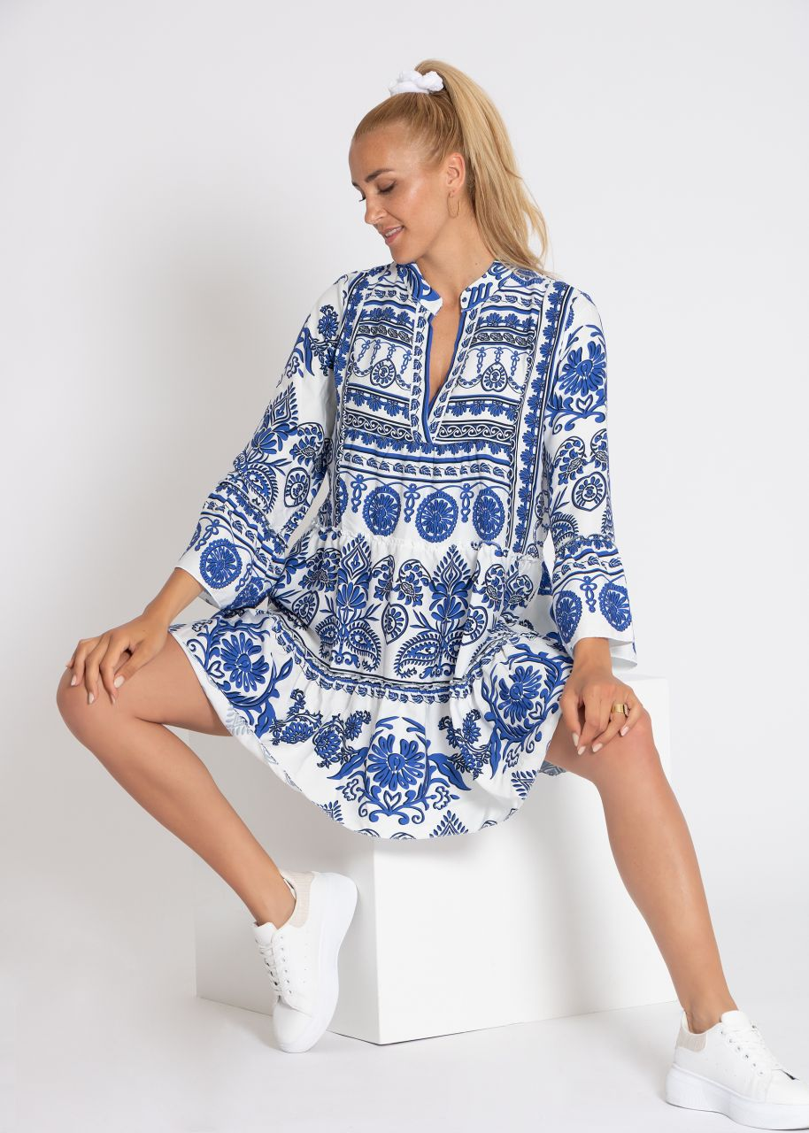 Tunika-Kleid mit Print, blau