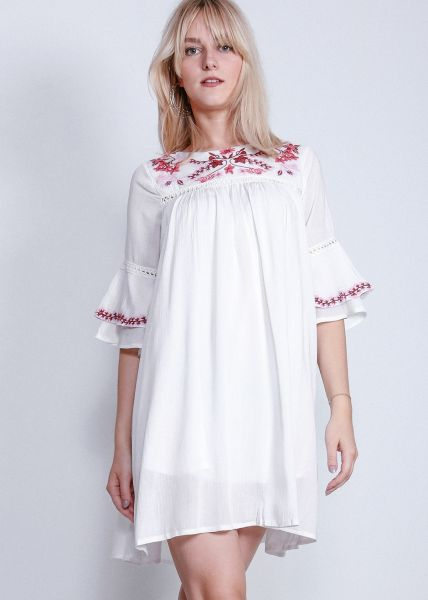 Hängerchenkleid mit Stickerei, weiß