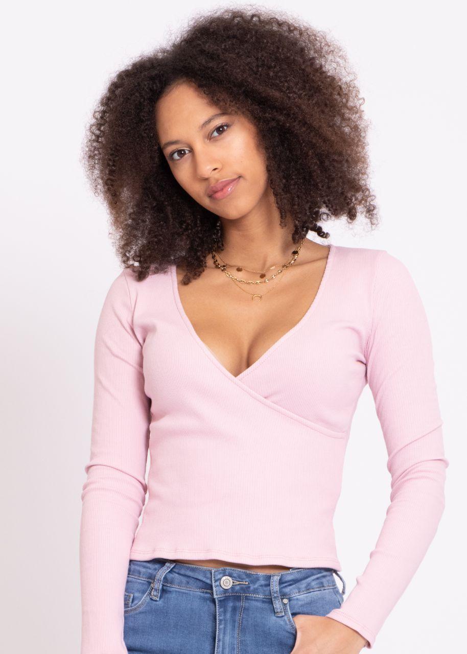 Jersey-Shirt mit Wickel-Optik, rosa