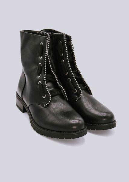 Schnür-Boots mit Nieten, schwarz