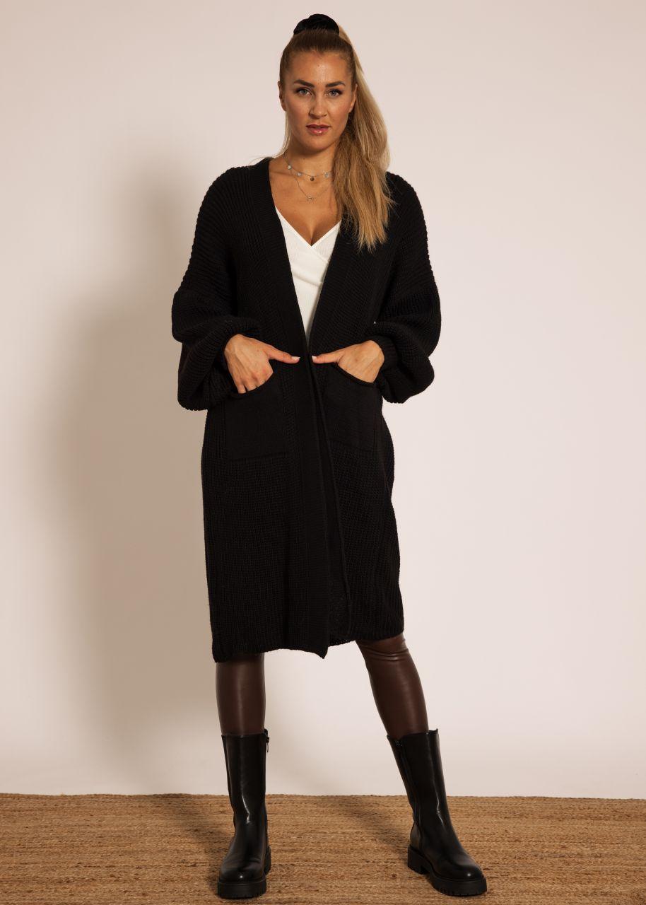 Maxi Cardigan mit Taschen, schwarz