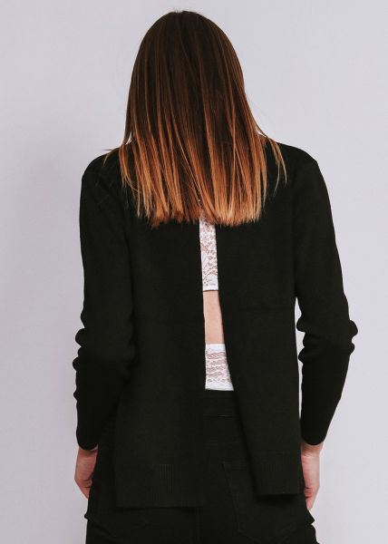 Pullover mit Schlitzen, schwarz