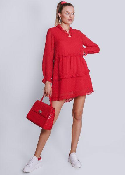 Kleid mit Rüschen, rot