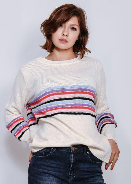 Pullover mit farbigen Biesen, weiß