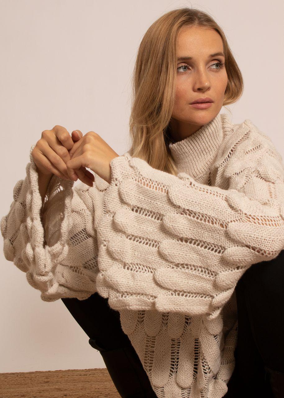 Oversize Pullover mit Muster, beige