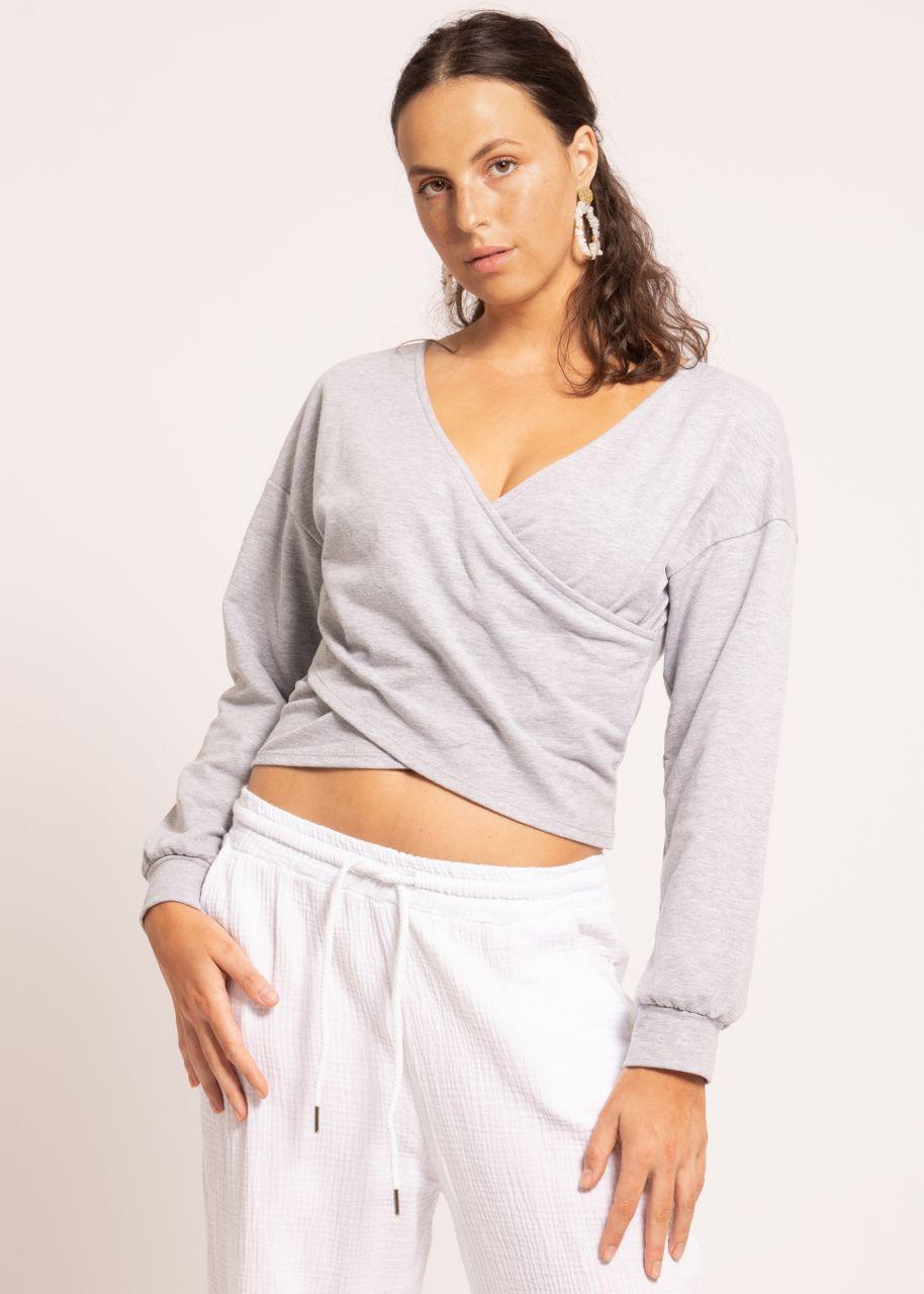 Lounge Shirt mit Wickel-Optik, grau