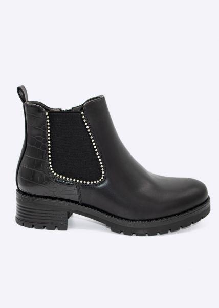 Chelsea-Boots mit silbernen Kugelperlen, schwarz