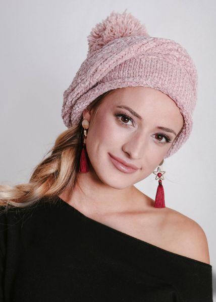 Baskenmütze aus Chenille, rosa