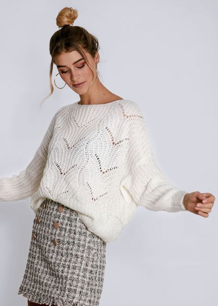 Luftig gestrickter Pullover, weiß