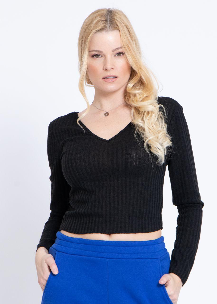 Rippen-Shirt mit V-Ausschnitt, schwarz