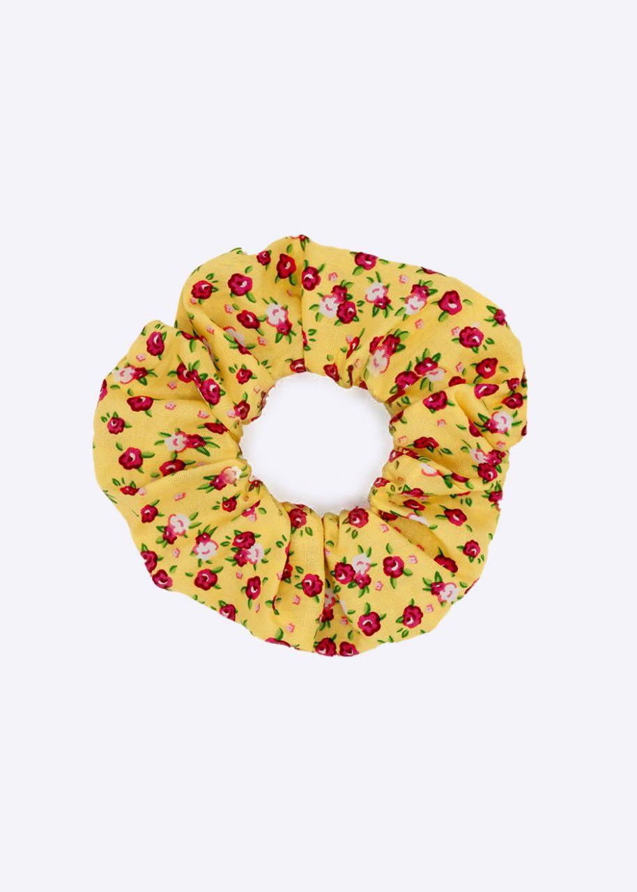 Blümchen-Scrunchie, gelb