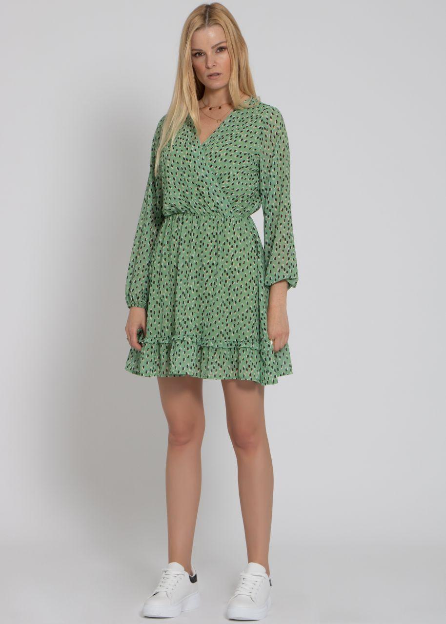 Kleid mit Wickel-Optik und Tupfen-Print, hellgrün