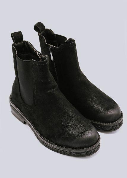 Chelsea-Boots mit Plateau, schwarz