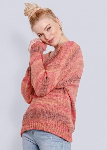 Streifen-Pullover, orange