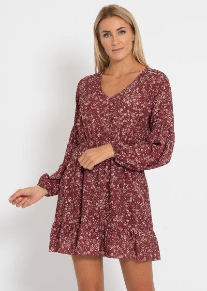 Kleid mit Print, weinrot