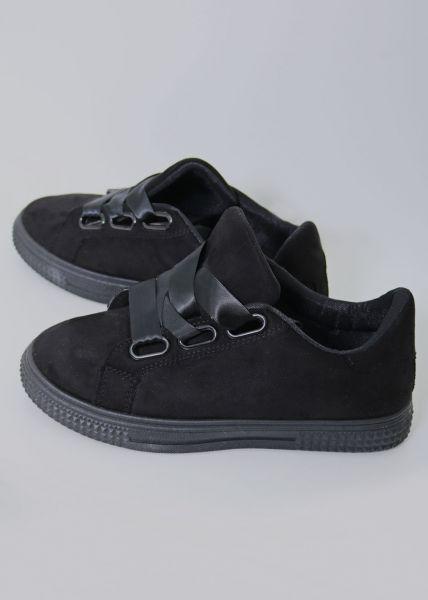 Sneaker mit Plateau, schwarz