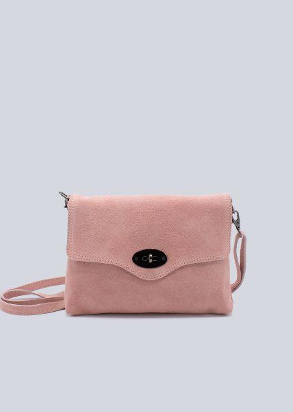 Veloursleder-Tasche, rosa