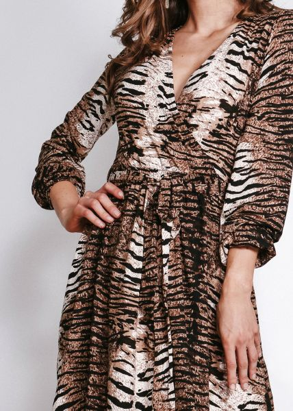 Jerseykleid in Animal-Print, beige/braun