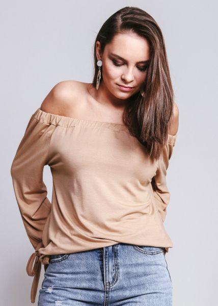 Schulterfreie Bluse aus Jersey, beige