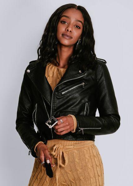 Biker-Jacke mit silbernen Reißverschlüssen, schwarz