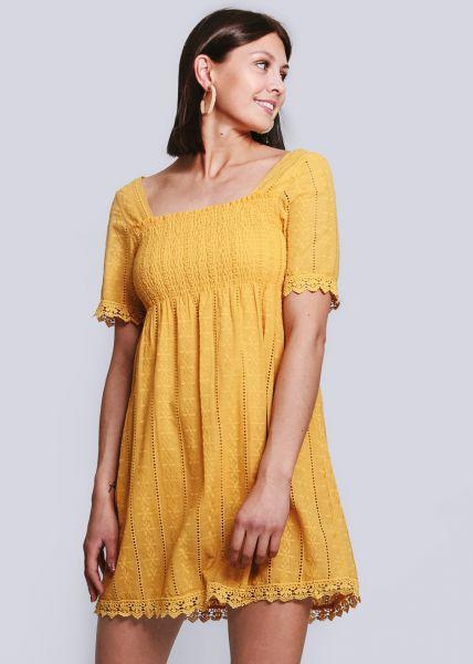 Kleid mit gesmoktem Oberteil, gelb