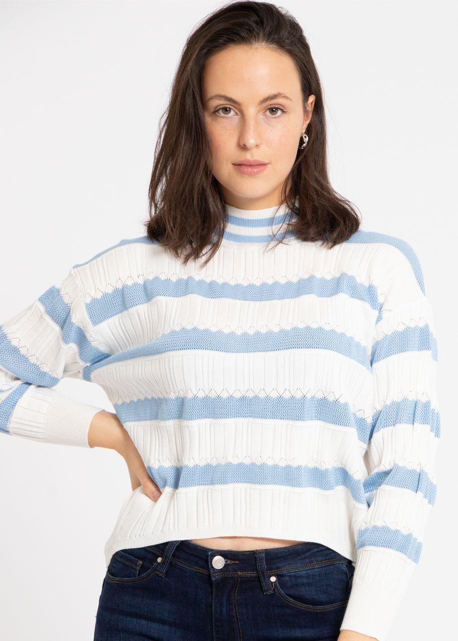 Leichter Pullover mit Streifen, blau/weiß