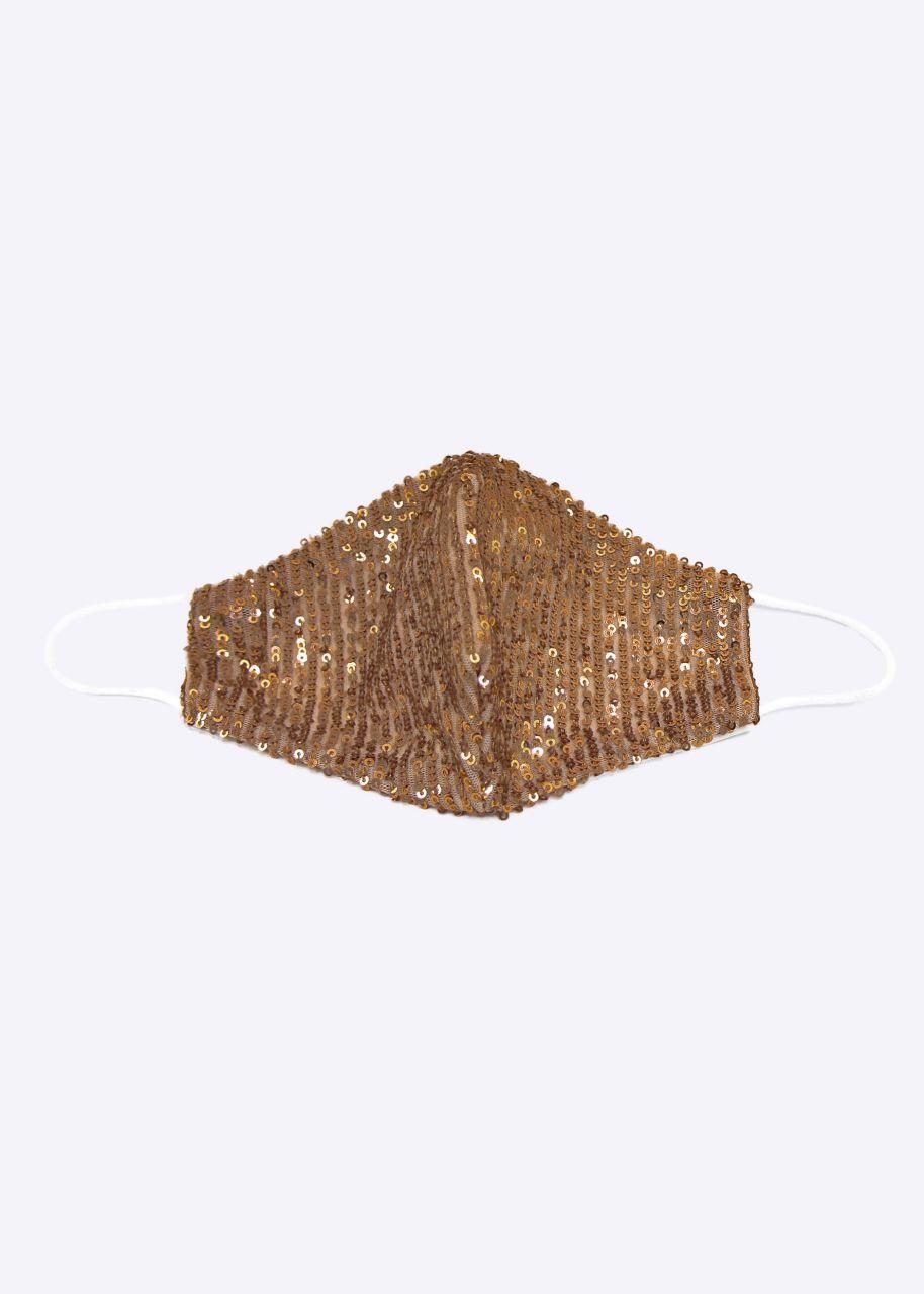 Stoffmaske aus Pailletten, gold