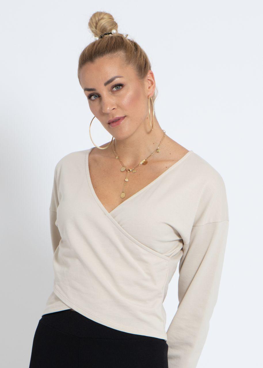 Lounge Shirt mit Wickel-Optik, beige