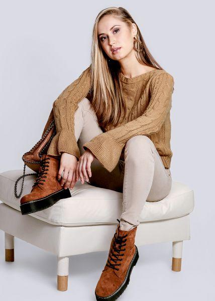 Zopf-Pullover mit Volantsärmel, camel