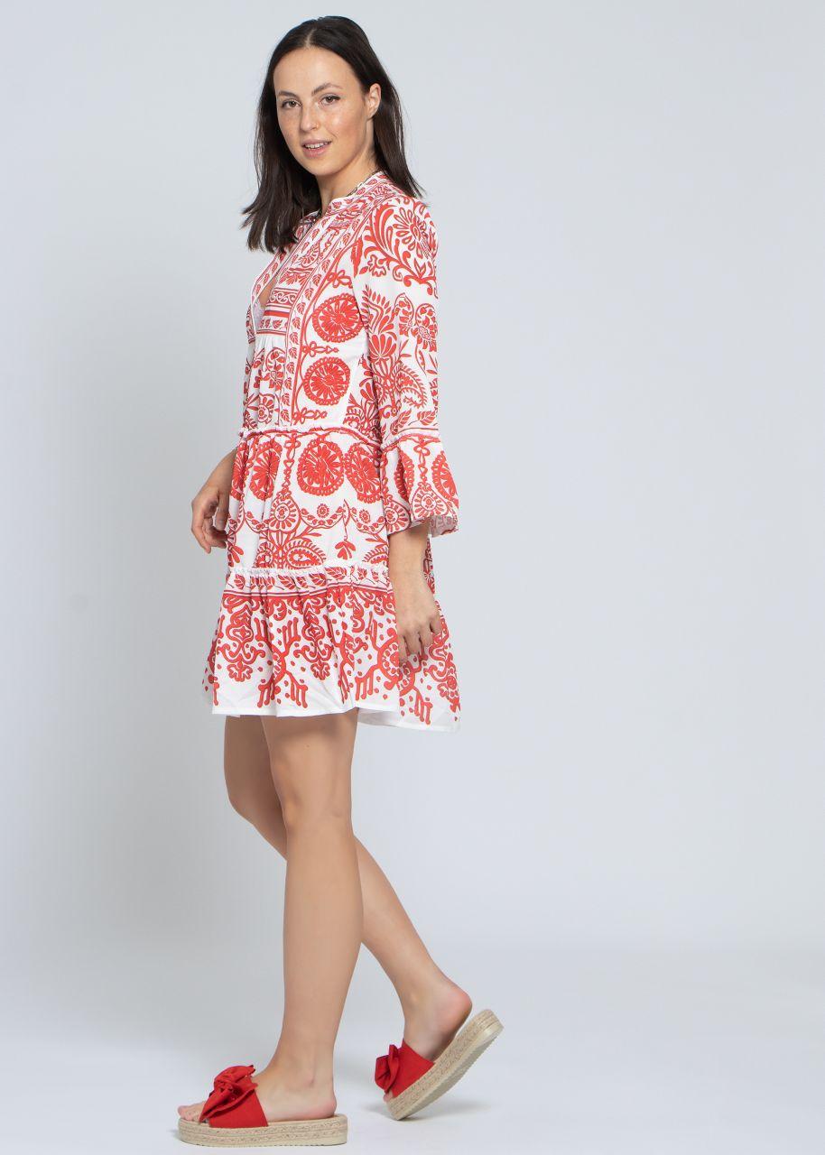 Kurzes Tunika-Kleid mit Print, rot