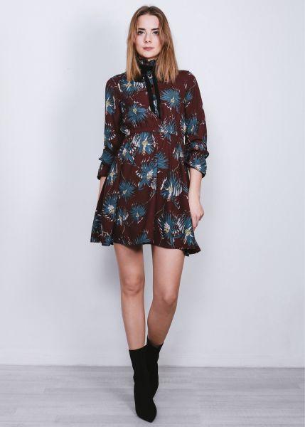 Hemdblusenkleid mit Print, bordeaux