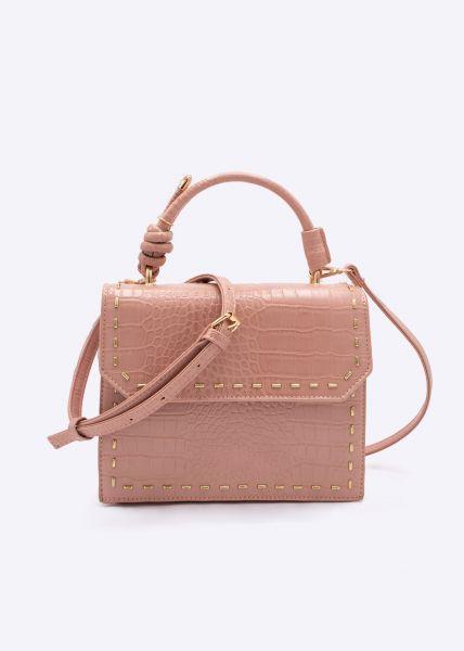 Kroko-Tasche mit goldfarbenen Nieten, rosa