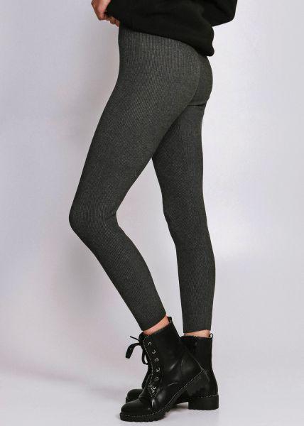 Leggings aus Rippenstrick, grau