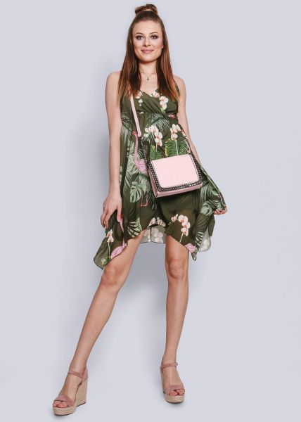 Trägerkleid mit Flamingo-Print, khaki
