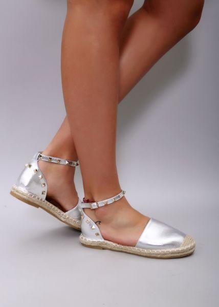 Espadrille-Sandale, silber