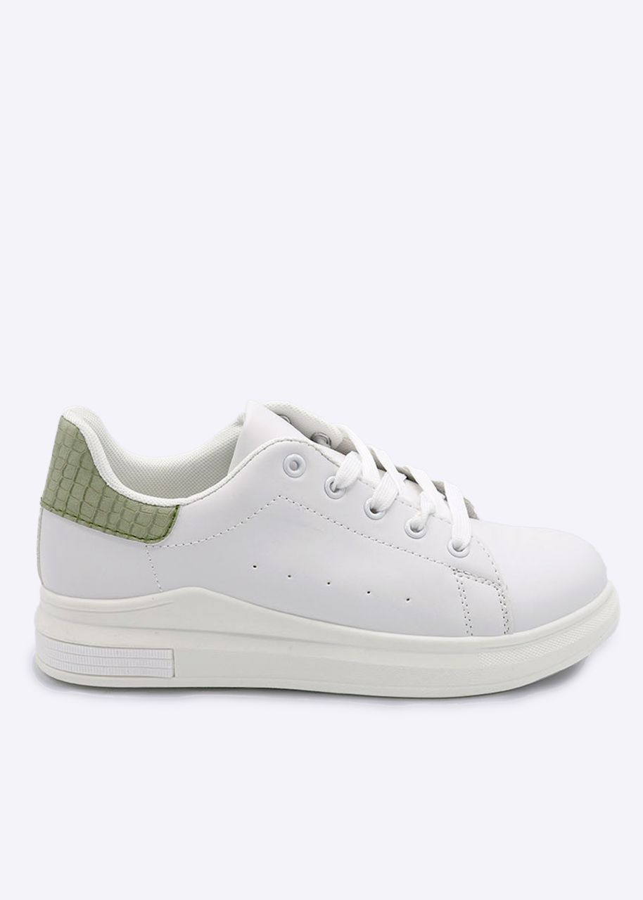 Plateau-Sneaker mit khaki Ferse, weiß