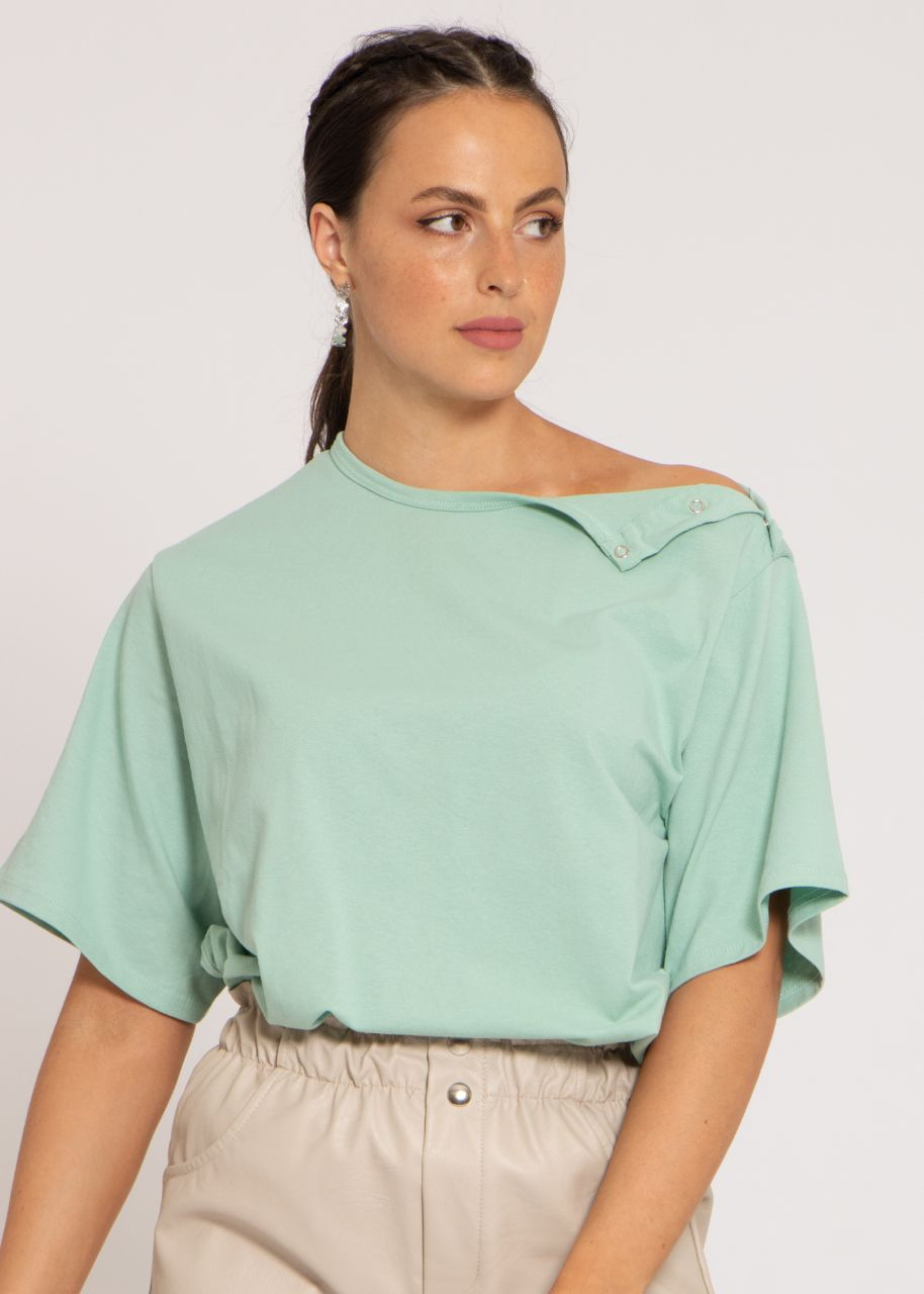 Oversize T-Shirt mit Druckknöpfen, grün