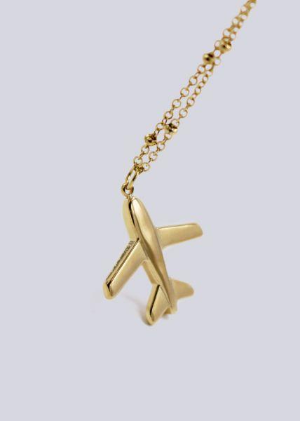 Halskette, Flugzeug, gold